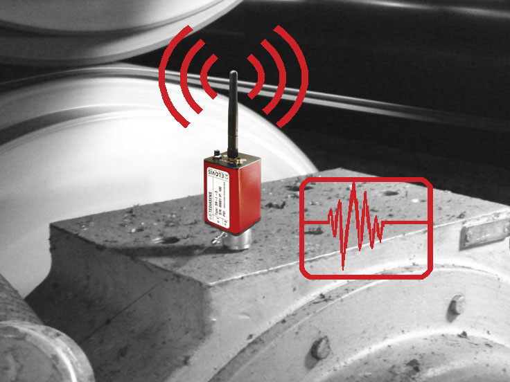 Synchronous transmission of measurement data, oscillation, vibration, via wireless LAN
